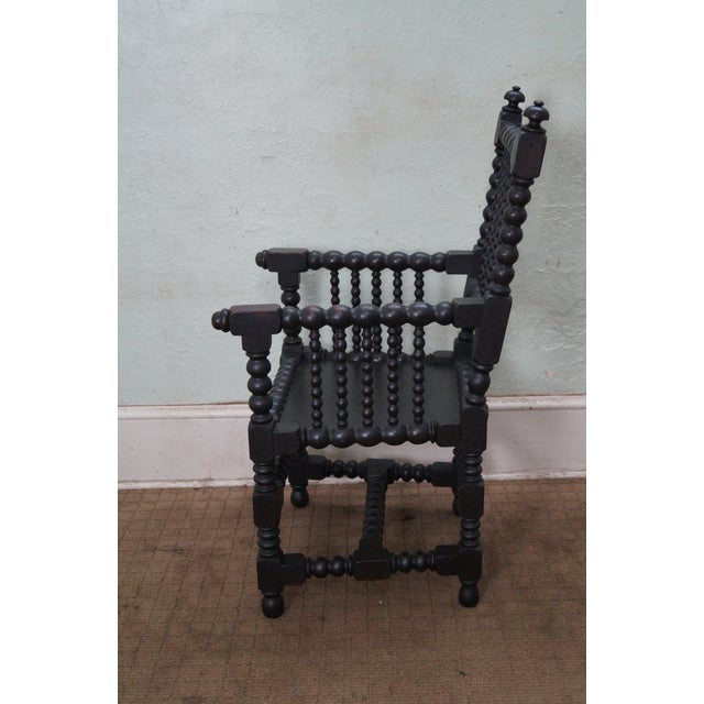Traditional 19th Century Solid Walnut Spool Turned Arm Chair For Sale - Image 3 of 10