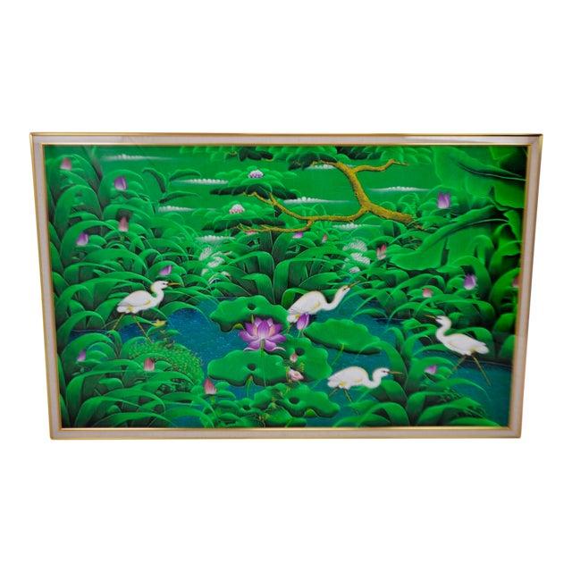 Large Art Deco Textile Art Painting Professionally Framed - Image 1 of 11