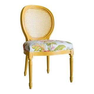 Modern Palecek Lyon Cane Oval Back Chair For Sale