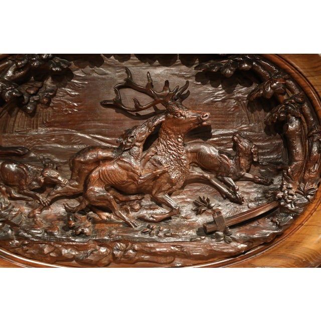 Large 19th Century French Carved Rosewood Hunting Buffet With Deer and Birds For Sale - Image 9 of 11