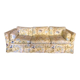 Vintage Baker Yellow Floral with Birds Sofa