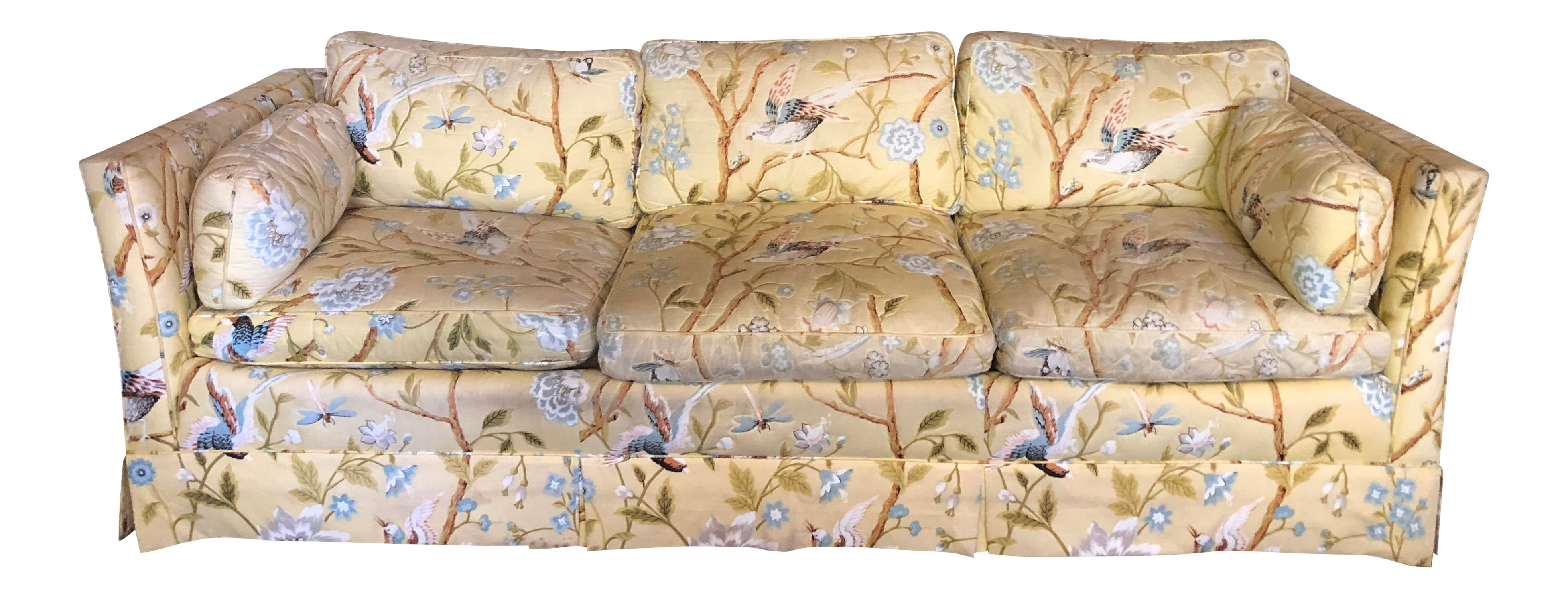 Delicieux Vintage Baker Yellow Floral With Birds Sofa