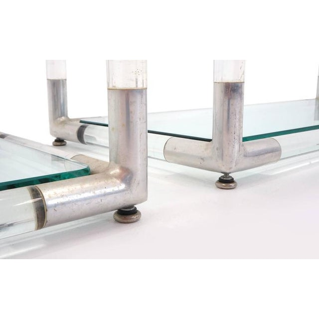 Pair Charles Hollis Jones Style Lucite and Chrome Shelves or Etagere For Sale In Kansas City - Image 6 of 7