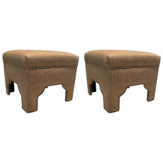 Wheat Colored Linen & Cotton Ottomans - A Pair