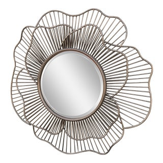 Modern Silver Metal Flower Shaped Mirror For Sale