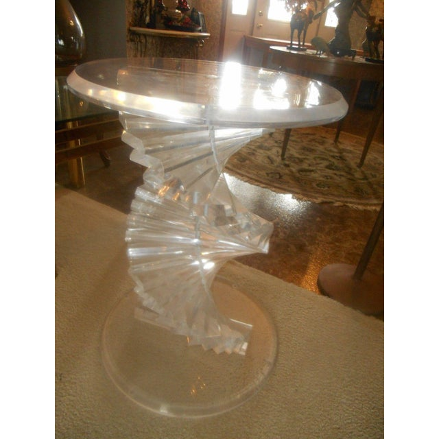 Vintage Lucite Helix Spiral Stacked Block Table Base - Image 8 of 8