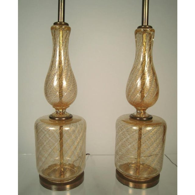 Large Elegant Pair of Venetian Gold and Clear Blown Glass Lamps - Image 3 of 7
