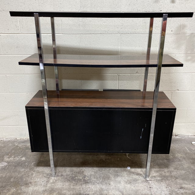 Mid Century Two Tier Chrome Shelf Cabinet For Sale - Image 4 of 12
