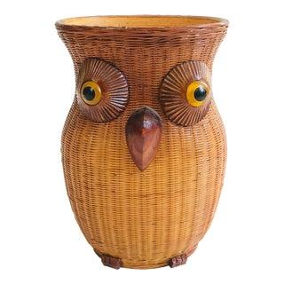 Vintage Wicker Owl Vase For Sale