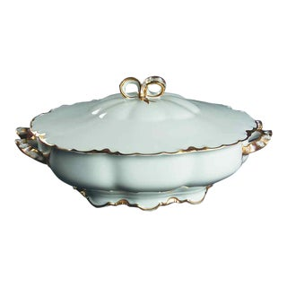 Round Covered Vegetable Ranson with Gold Rim For Sale