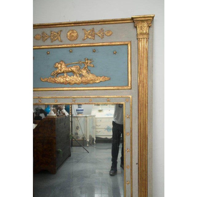 19th Century French Blue Painted and Parcel Gilt Trumeau For Sale - Image 4 of 9