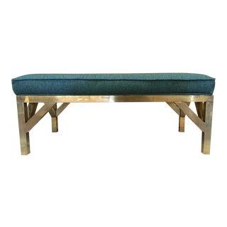 Modernist Brass Base Bench For Sale