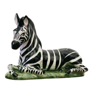 Glazed Ceramic Zebra Sculpture For Sale