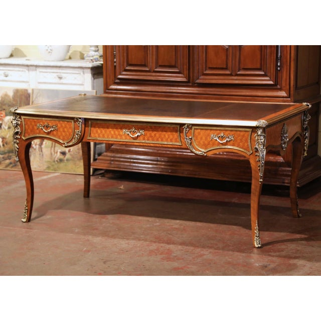 19th Century French Louis XV Marquetry and Bronze Bureau Plat With Leather Top For Sale - Image 13 of 13