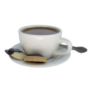 Vintage C.1980s Tromp l'Oeil Coffe Cup & Saucer With Spoon & Chocolate Ganache Covered Biscuits Accent Piece For Sale