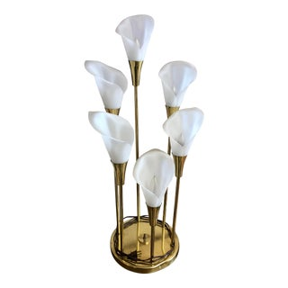 Vintage Mid Century Calla Lily 6 Light Brass Table Lamp For Sale