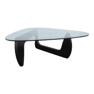 Mid Century Black Painted Base with Glass Top Guitar Pick Shape Coffee Table For Sale
