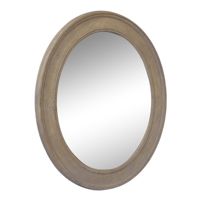 Vintage Grayed Weathered Oak Oval Mirror For Sale