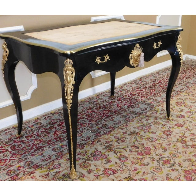 Partially Restored Antique French Louis XV Regency Style Black Lacquered Bureau Plat Desk C1900 For Sale - Image 10 of 12