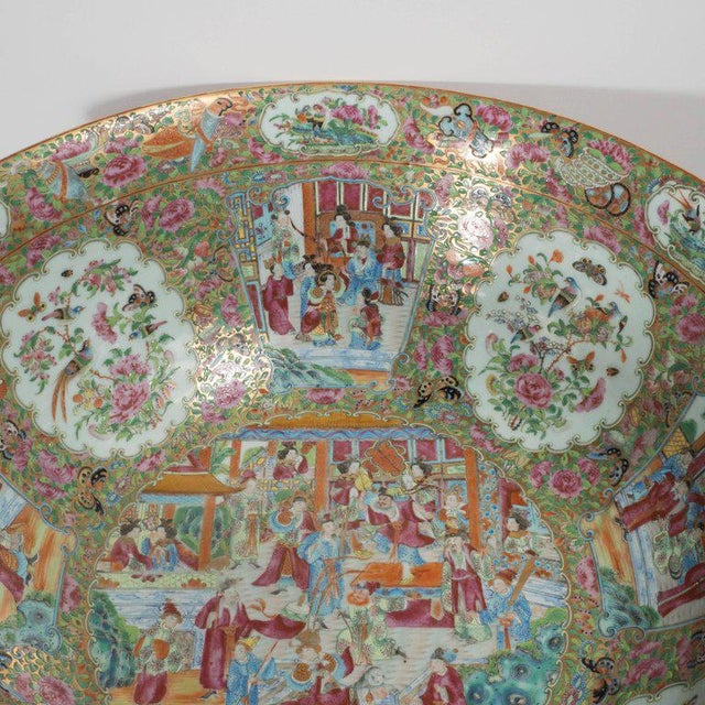 """Mid 19th Century Important """"Mandarin"""" Style Rose Medallion Chinese Export Ceramic Bowl For Sale - Image 5 of 11"""