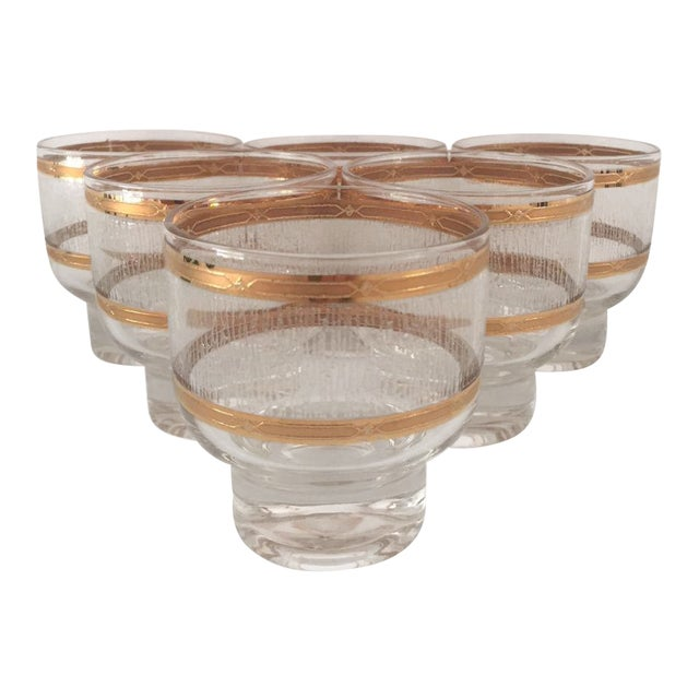 Mid Century Gold & Clear Textured Short Cocktail Glasses - Set of 6 For Sale