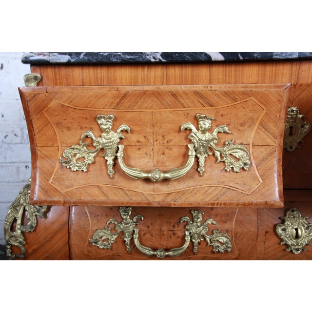 Mid 20th Century French Louis XV Style Inlaid Mahogany Marble Top Bombay Chest For Sale - Image 5 of 13