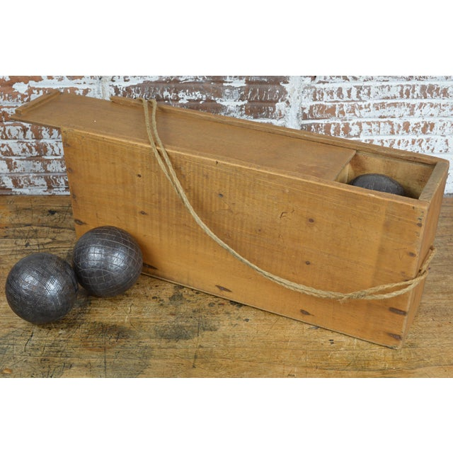Cast Iron Antique French Iron Boules Set With Case For Sale - Image 7 of 13