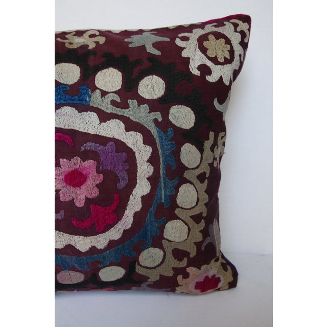 Vintage Handmade Needlework Suzani Throw Pillow Cover For Sale In Baltimore - Image 6 of 13