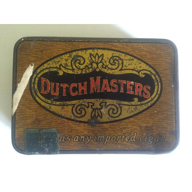 """Americana Vintage Early 1900's """"Dutch Masters"""" Lithograph Cigar Tin Box For Sale - Image 3 of 11"""