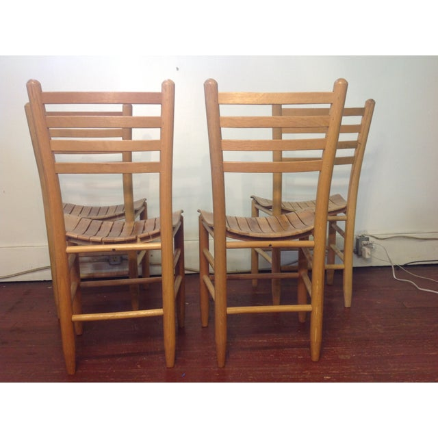 Vintage Sparrow Slat Ladder Back Chairs - Set of 4 - Image 7 of 9