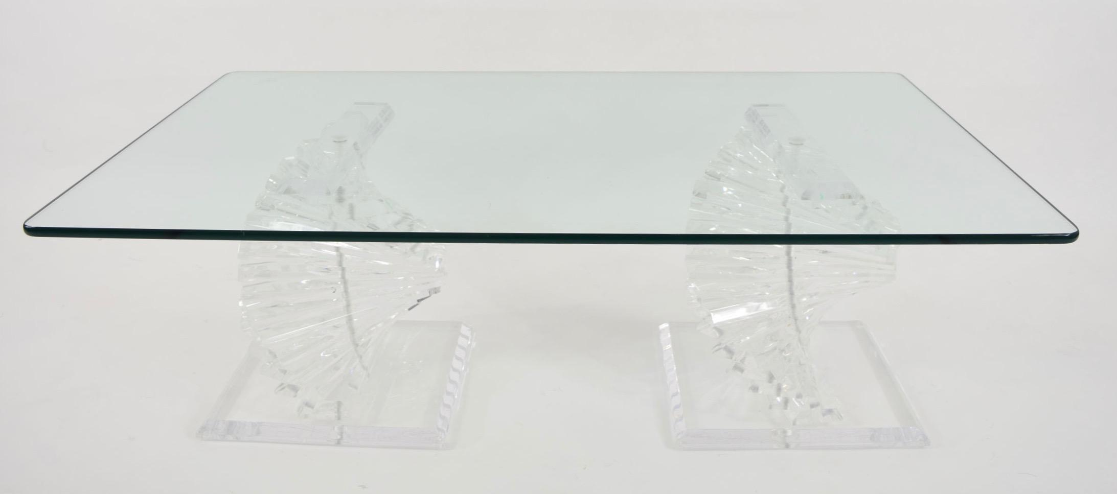 Beautiful Coffee Table With Rectangular Glass Top In A Rounded Pencil Edge.  Lucite Bases Are