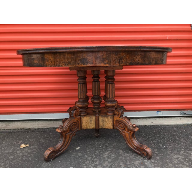 Late 20th Century Oval Carved Wood Side Table For Sale - Image 5 of 11
