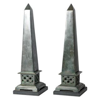 Neoclassical Dark Green Solid Bronze Obelisks, C.1940, A Pair For Sale