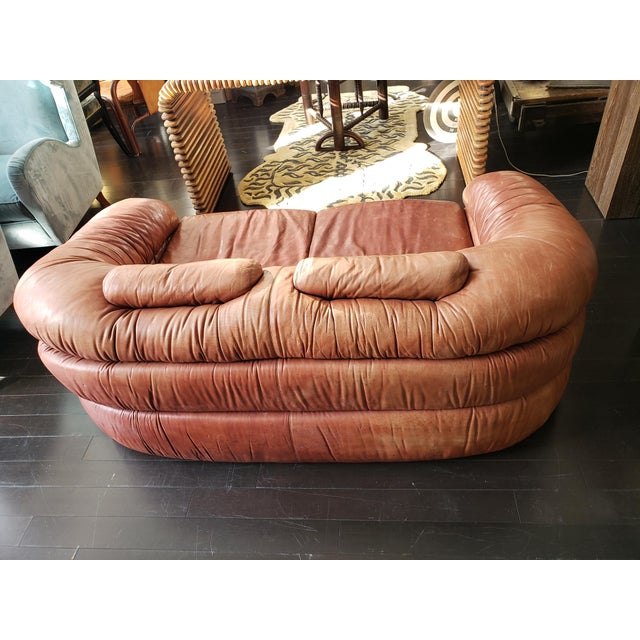 Brown 1960s Italian Zanotta Two-Seater Leather Sofa For Sale - Image 8 of 9