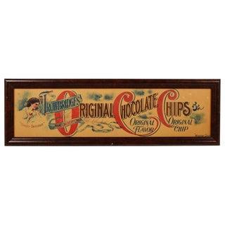 Antique Trowbridge's Chocolate Chips Sign, Framed For Sale
