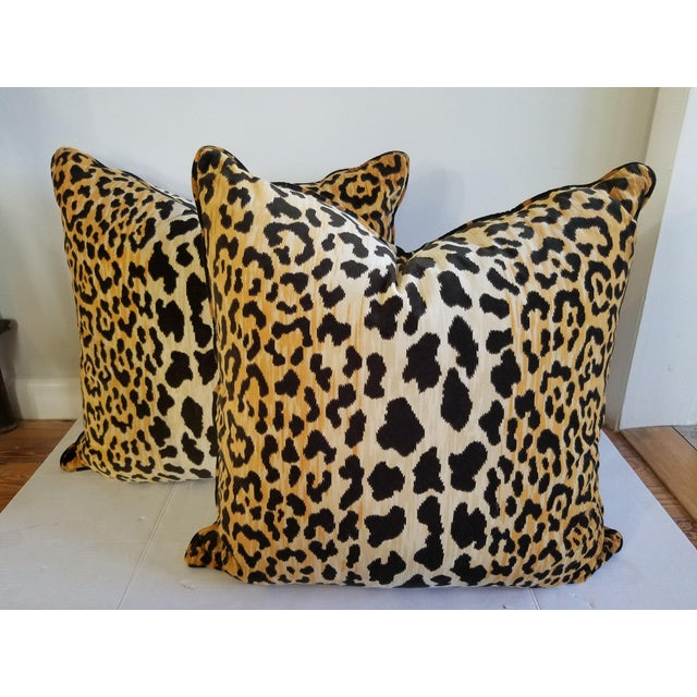 Contemporary Tiger Velvet Reversible Pillows - A Pair For Sale - Image 3 of 3
