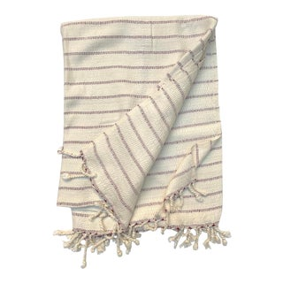 Burgundy Stripe Bamboo Turkish Towel For Sale