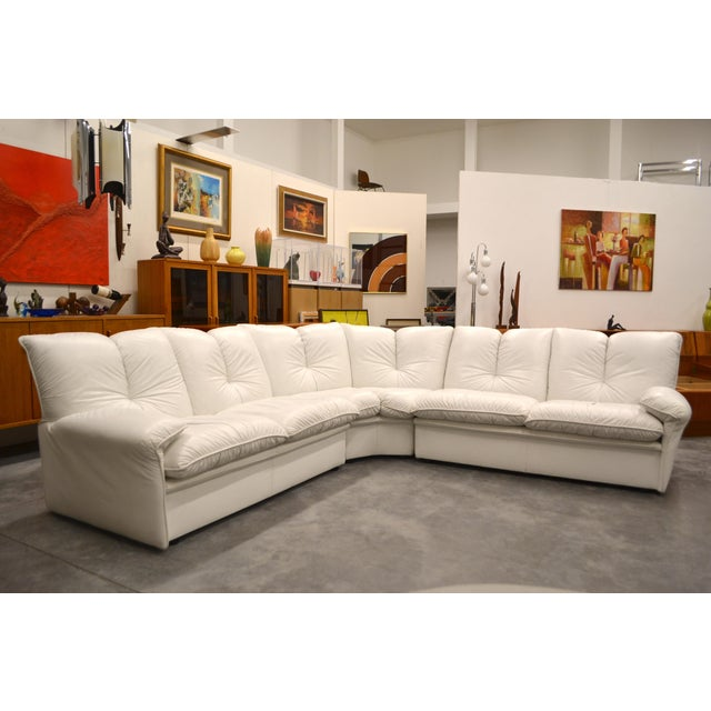 1970s Nicoletti Salotti Italian White Leather 3 Pieces Sectional Sofa For Sale - Image 5 of 6