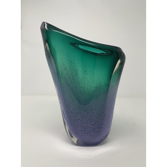 Late 20th Century Asymmetric Speckled Murano Glass Vase For Sale - Image 4 of 12