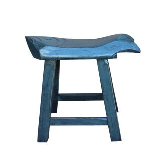 Oriental Handmade Rustic Distressed Gray Fish Shape Wood Stool For Sale