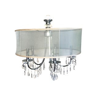 Traditional-Style Shimmer Drum Shade Chandelier For Sale