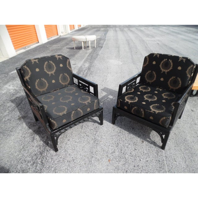 1960s Vintage Orient Express Solid Wood Carved Asian Lounge Chairs- A Pair For Sale - Image 5 of 5
