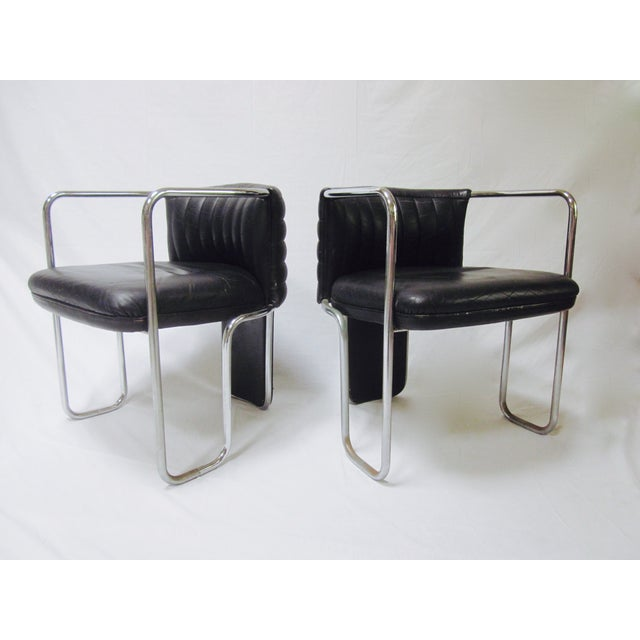Poltrona Frau Leather Chairs- A Pair - Image 2 of 11
