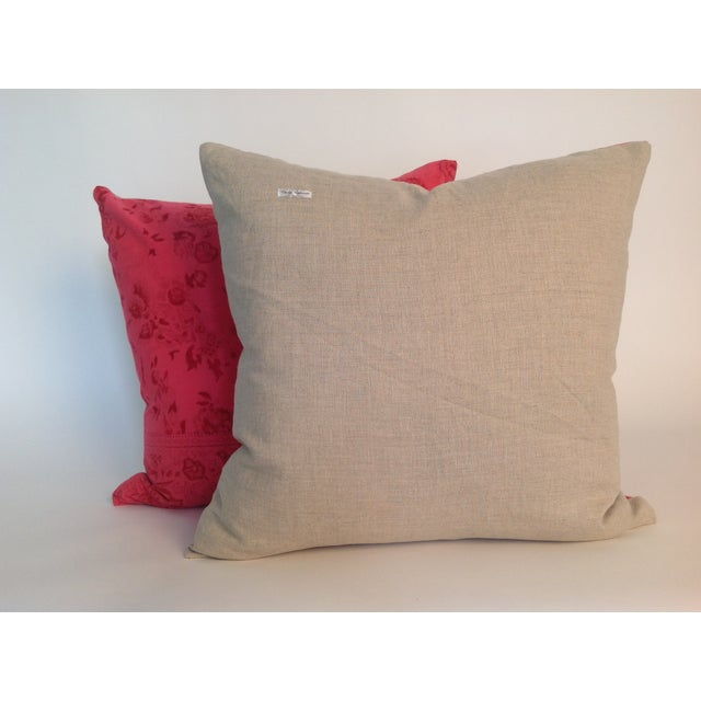 Contemporary Vintage Block Printed Kantha Pillows - A Pair For Sale - Image 3 of 4