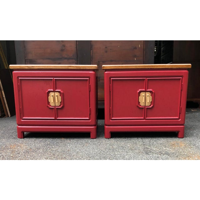 Red Thomasville Mystique Nightstands -A Pair For Sale - Image 8 of 8