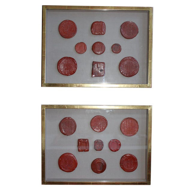 Framed Red Intaglio Wax Seals Collages - a Pair For Sale - Image 13 of 13