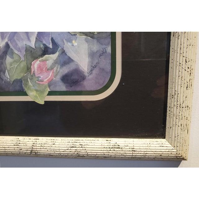 1980s Vintage 1980's Framed Floral Watercolor Print For Sale - Image 5 of 7
