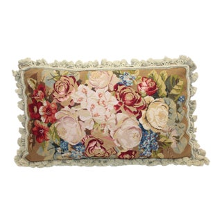 Chelsea Textiles Floral Hand Made Needlepoint Pillow