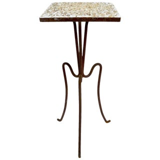 Wrought Iron and Stone Garden Patio Stand With Pebble Stone Top For Sale