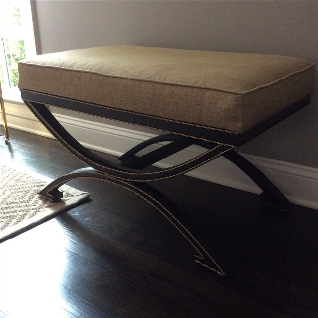 Upholstered Bench With Metal Tole Base - Image 5 of 5